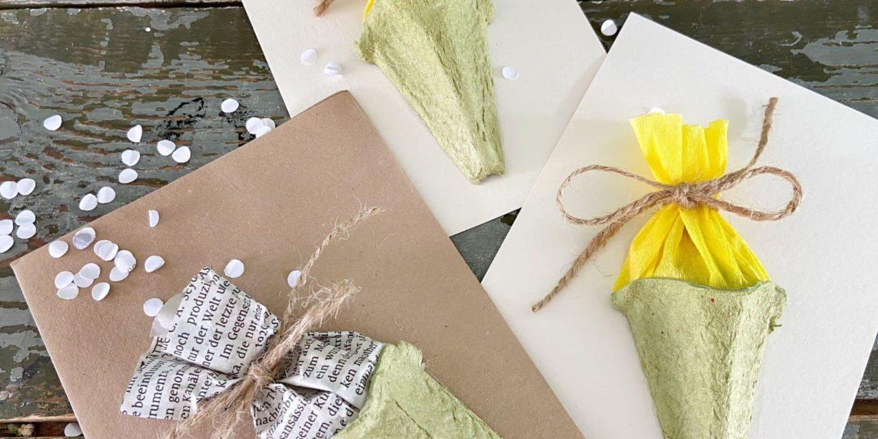 Upcycling-Einschulungskarten-DIY: Karte zur Einschulung aus Eierkartons in 3 Schritten